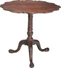 Furniture , A George III-Style Stained Walnut Tilt-Top Tea Table, late 19th century. 28-1/2 h x 31 d inches (72.4 x 78.7 cm). PROPERTY...