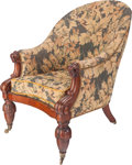 Furniture , An English Regency Needlepoint Upholstered Walnut Library Chair, circa 1820. 38 h x 26 w x 26 d inches (96.5 x 66.0 x 66.0 c...