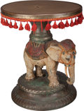 Furniture : Continental, A Viennese Cold Painted Metal and Bronze Figural Elephant Side Table, circa 1900. 18-1/2 inches high x 15-1/2 inches diamete...