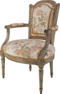 Furniture , A French Louis XVI Painted Wood and Upholstered Fauteuil, late 18th century. 83-7/8 h x 21-1/2 w x 18 d inches (213.0 x 54.6...