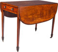 Furniture , An English Hepplewhite-Style Flame Mahogany Inlaid Pembroke Table, circa 1820. 28-3/4 h x 42-5/8 w x 36 d inches (73.0 x 108...