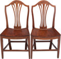 Furniture , A Pair of George III Oak Side Chairs, late 18th century. 36-3/4 h x 19 w x 15-1/2 d inches (93.3 x 48.3 x 39.4 cm). ... (Total: 2 Items)
