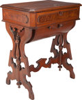 Furniture : American, An American Walnut Two-Drawer Sewing Table, circa 1870-1880. 28-1/2h x 24 w x 16-3/4 d inches (72.4 x 61.0 x 42.5 cm). ...
