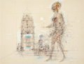 Fine Art - Work on Paper:Drawing, Jean Marie Carzou (French, 1907-2000). Where Is She Going?,1969. Pen and ink with pastel on paper heightened with white...