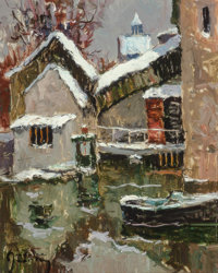 Maurice Martin (French, 1894-1978) Le Moulin de Nemours Oil on canvas 16 x 13-1/4 inches (40.6 x