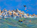 Fine Art - Painting, American:Contemporary   (1950 to present)  , Gonzalo Endara Crow (Ecuadorian, 1936-1996). Golden Butterfliesand Color Globes, 1990. Acrylic on canvasboard. 17-1/2 x...