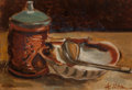 Fine Art - Painting, European:Modern  (1900 1949)  , André Utter (French, 1886-1948). Nature morte a la coquille StJacques. Oil on canvas. 6-1/2 x 8-3/4 inches (16.5 x 22.2...
