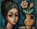 Paintings, Enrico Campagnola (Swiss/American, 1911-1984). Femme au Vase. Oil on canvas. 13 x 16-1/4 inches (33.0 x 41.3 cm). Signed...