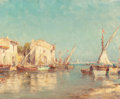 Fine Art - Painting, European:Modern  (1900 1949)  , Henri Malfrou-Savigny (French, 1895-1944). By the SeaHarbor. Oil on canvas. 8-3/4 x 10-3/4 inches (22.2 x 27.3 cm).Sig...
