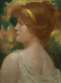 Robert Fowler (British, 1853-1926) Classical Beauty Oil on canvas 17 x 12-1/2 inches (43.2 x 31.8