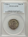 1738-A SOU M French Colonies Sou Marque AU50 PCGS. PCGS Population (3/11). NGC Census: (0/3). ...(PCGS# 158658)