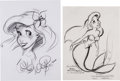 Animation Art:Production Drawing, David Pacheco and Glen Keane The Little Mermaid Ariel Sketchand Print Group of 2 (Walt Disney, 1989-91).... (Total: 2 Items)