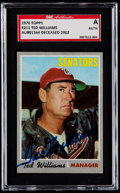 Baseball Cards:Singles (1970-Now), Signed 1970 Topps Ted Williams #211 SGC Authentic....
