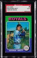 Baseball Cards:Singles (1970-Now), Signed 1975 Topps George Brett #228 SGC Authentic....