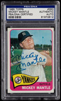 Baseball Cards:Singles (1960-1969), Signed 1965 Topps Mickey Mantle #350 PSA/DNA Authentic....