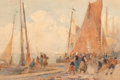 Works on Paper, Hector Caffieri (British, 1847-1932). Boating scene. Watercolor on paper laid on board. 14-1/4 x 21 inches (36.2 x 53.3 ...
