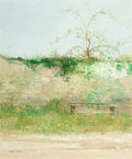 Paintings, Julian Taylor (French, b. 1954). The Garden Bench. Acrylic on canvas. 18-1/4 x 15 inches (46.4 x 38.1 cm). Signed lower ...