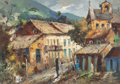 Fine Art - Painting, American:Contemporary   (1950 to present)  , Durval Pereira (Brazillian, 1917-1984). Mountain Village,1982. Oil on canvas. 20 x 27-3/4 inches (50.8 x 70.5 cm). Date...