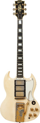 1961 Gibson Les Paul Custom White Solid Body Electric Guitar, Serial # 3732, Weight: 7.7 lbs