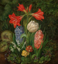Fine Art - Painting, European:Antique  (Pre 1900), Christine M. Loumand (Dutch, 19th Century). Still Life withHyacinth, Tulip, Lily of the Valley, Primroses, andAmaryllis...