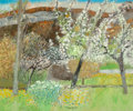 Fine Art - Painting, European:Contemporary   (1950 to present)  , Guy Bardone (French, b. 1927). Le Pré Fleuri. Oil on canvas.18-1/4 x 21-3/4 inches (46.4 x 55.2 cm). Signed lower cente...