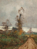 Paintings, Emile Godchaux (French, 1860-1933). Landscape with cottage and figure walking on road. Oil on canvas. 36-1/2 x 28 inches...