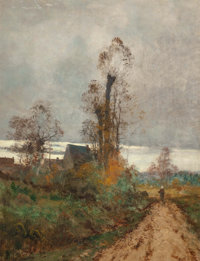 Emile Godchaux (French, 1860-1933) Landscape with cottage and figure walking on road Oil on canvas