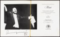"""Movie Posters:Musical, Luciano Pavarotti Cena de Gala (Plaza Hotel, 1987). Autographed Menu (8 Pages, 11"""" X 13""""). Musical.. ..."""