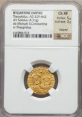 Ancients:Byzantine, Ancients: Theophilus (AD 829-842), with Constantine and Michael II. AV solidus (4.31 gm)....