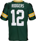 Football Collectibles:Uniforms, Aaron Rodgers Signed and Stat Inscribed Green Bay Packers Jersey - 1 of Only 2 With This Many Inscriptions!. ...