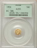 California Fractional Gold , 1854 50C Liberty Octagonal 50 Cents, BG-306, R.4, AU55 PCGS. PCGSPopulation (5/89). NGC Census: (1/27). ...