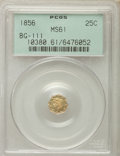 California Fractional Gold , 1856 25C Liberty Octagonal 25 Cents, BG-111, R.3, MS61 PCGS. PCGSPopulation (25/232). NGC Census: (9/69). ...