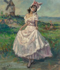 Fine Art - Painting, European:Contemporary   (1950 to present)  , Yves Diey (French, 1892-1984). Lady in Pink . Oil on canvas.20-3/4 x 18 inches (52.7 x 45.7 cm). Signed lower left:Yv...