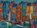 Fine Art - Painting, European:Contemporary   (1950 to present)  , Pierre Gaillardot (French, 1910-2002). Port d'Honfleur,Normandie. Oil on Canvas. 19-7/8 x 25-3/4 inches (50.5 x 65.4cm...