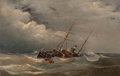 Fine Art - Painting, European:Antique  (Pre 1900), Teen G. G. Feninga (Dutch, 19th Century). The Shipwreck,1877. Oil on panel. 17 x 26-1/2 inches (43.2 x 67.3 cm). Signed...