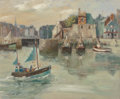 Fine Art - Painting, European:Contemporary   (1950 to present)  , Jean Claude Quinette (French, b. 1956). Return to the Docks,1988. Oil on canvas. 19-3/4 x 24 inches (50.2 x 61.0 cm). S...