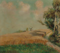 Fine Art - Painting, European:Modern  (1900 1949)  , Osk Strauch (Dutch, Early 20th Century). Dutch wheat fields withdistant windmill. Oil on canvas laid on board. 19-1/2 x...