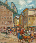 Fine Art - Painting, American:Contemporary   (1950 to present)  , Emil Rizek (American/Austrian, 1901-1988). Market Day. Oilon canvas. 18 x 15 inches (45.7 x 38.1 cm). Signed lower righ...