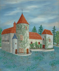 Fine Art - Painting, European:Contemporary   (1950 to present)  , Maurice Loirand (French, 1922-2008). A petite chateau surroundedby waterlilies. Oil on canvas. 21-3/4 x 18 inches (55....