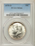 Kennedy Half Dollars, 1970-D 50C MS66 PCGS. PCGS Population (516/14). NGC Census:(138/7). Mintage: 2,150,000. ...