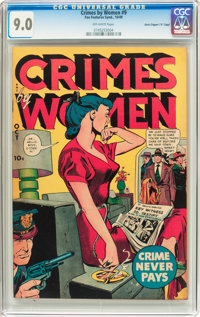 "Crimes by Women #9 Davis Crippen (""D"" Copy) Pedigree (Fox Features Syndicate, 1949) CGC VF/NM 9.0 Off-white pa..."