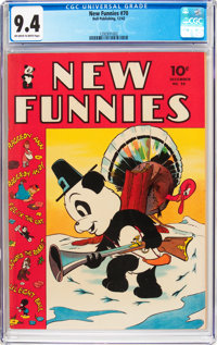 New Funnies #70 (Dell, 1942) CGC NM 9.4 Off-white to white pages