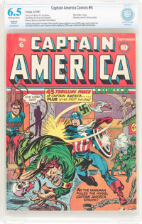 Captain America Comics #6 (Timely, 1941) CBCS Restored (Moderate) FN+ 6.5 Off-white to white pages