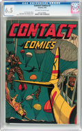 Golden Age (1938-1955):War, Contact Comics #2 (Aviation Press, 1944) CGC FN+ 6.5 Off-white towhite pages....