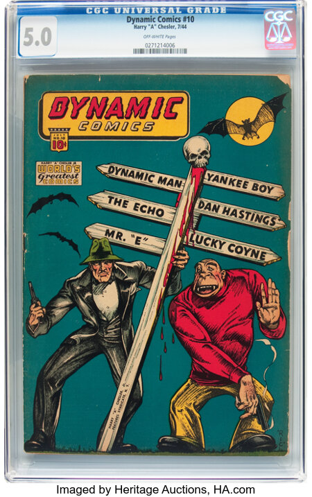 Dynamic Comics #10 (Chesler, 1944) CGC VG/FN 5.0 Off-white pages....