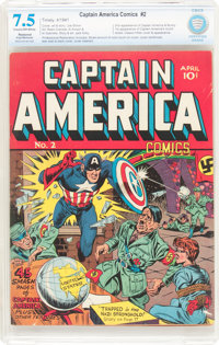 Captain America Comics #2 (Timely, 1941) CBCS Restored VF- 7.5 Slight to Moderate (P) Cream to off-white pages