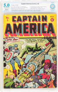 Captain America Comics #3 (Timely, 1941) CBCS Restored VG/FN 5.0 Moderate (A) Cream to off-white pages