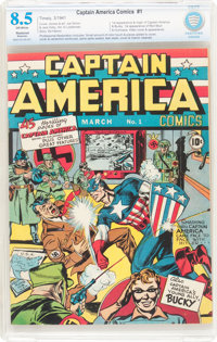 Captain America Comics #1 (Timely, 1941) CBCS Restored VF+ 8.5 Moderate (P) Off-white pages