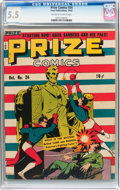 Golden Age (1938-1955):Superhero, Prize Comics #24 (Prize, 1942) CGC FN- 5.5 Off-white to white pages....