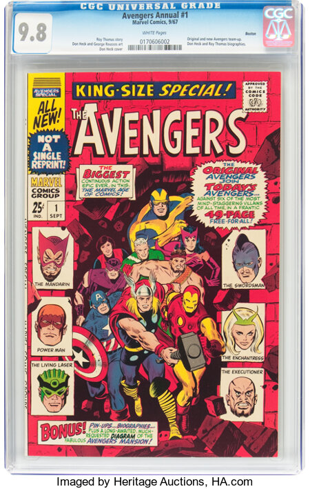 The Avengers Annual #1 Boston Pedigree (Marvel, 1967) CGC NM/MT 9.8 White pages....